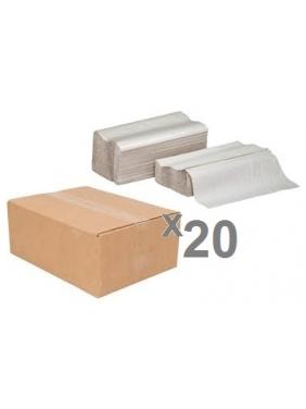 Popieriniai rankšluosčiai servetėlėmis WAVE PLUS GREY V (20pak.)