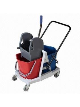 Dviejų kibirų valytojos vežimėlis ECO PLASTIC, 2x25L