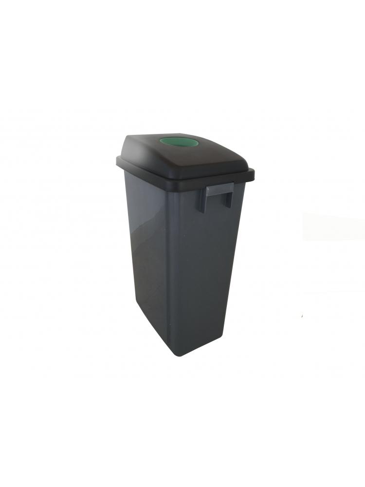 Šiukšliadėžė rūšiavimui 60L su žaliu dangčiu