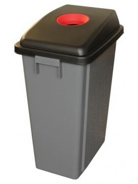 Šiukšliadėžė rūšiavimui 60L su raudonu dangčiu