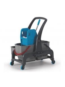 Dviejų kibirų vežimėlis PROCART 720S su krepšeliu daiktams