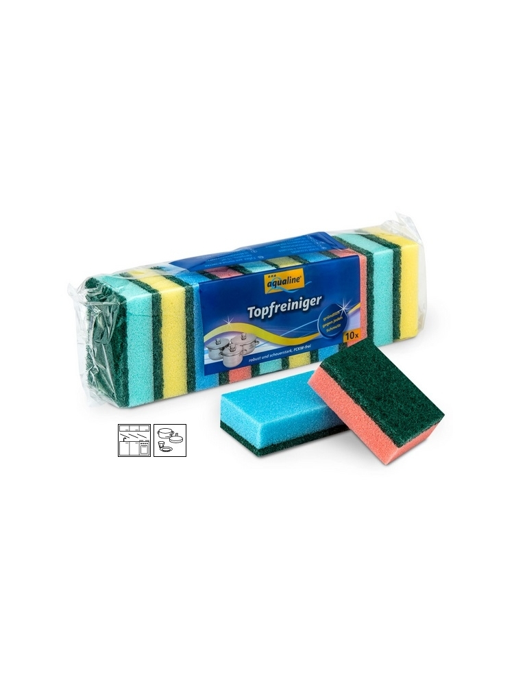Strong green scouring pad with nail protector CINE COLOR 10x7,5x5cm