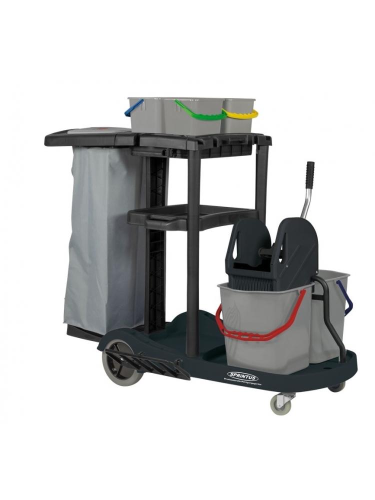 SERVICE CART multi-purpose plastic trolley, 2x17L