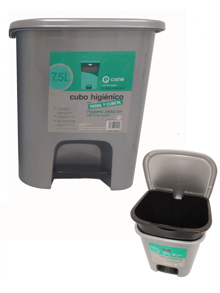 HYGIENIC PEDAL BIN CONTAINER 7,5 L (grey)