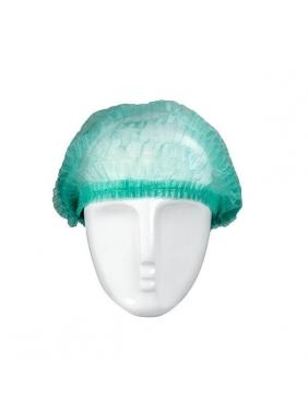 Vienkartinės gofruotos kepuraitės, žalios (100vnt.)
