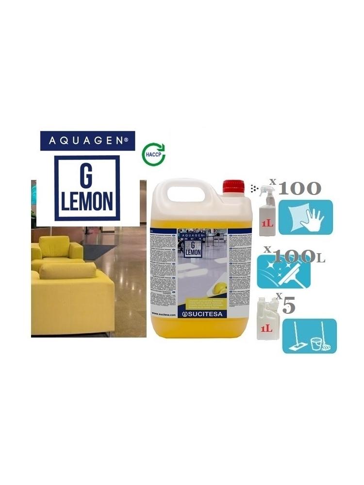 Citrinų kvapo valiklis su bio-alkoholiu AQUAGEN G LEMON 5L (koncentratas)