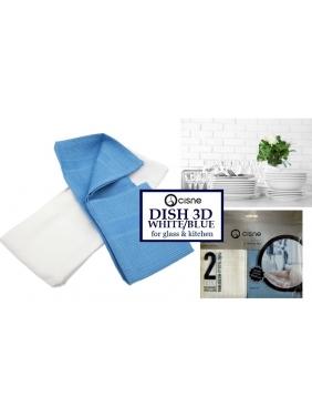 Mikropluošto šluostė indams sausinti DISH 3D WHITE-BLUE, 50x50cm (2vnt.)