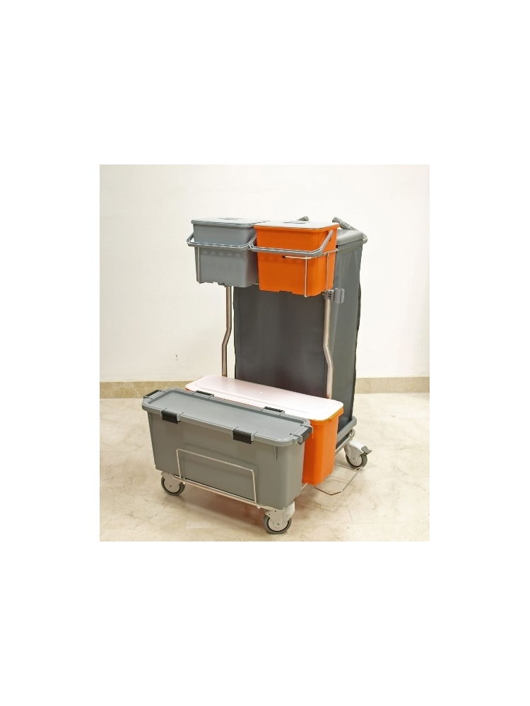 Flat Mopping INOX Trolley, complete